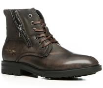 Schuhe Schnürstiefeletten Leder-Textil warm gefüttert dunkelbraun ,weiß