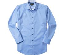 Hemd Modern Fit Twill hellblau-weiß gepunktet