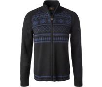 Cardigan, Microfaser-Schurwolle, schwarz-blau gemustert