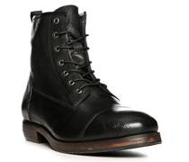Herren Schuhe Schnürstiefeletten Leder schwarz schwarz,grau