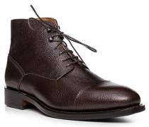 Schuhe Schnürstiefelette, Kalbleder, testa di moro