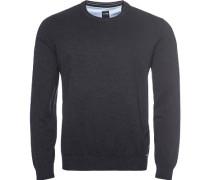 Pullover Pulli Modern Fit Baumwolle anthrazit meliert