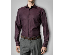 Hemd Slim Fit Baumwolle bordeaux