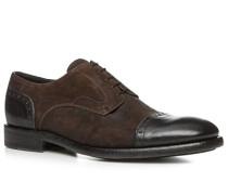 Schuhe Burford Velours-Büffelleder nero-testa di moro
