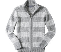 Zip-Cardigan Wolle gestreift