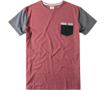 T-Shirt Baumwolle pastellbordeaux-grau meliert