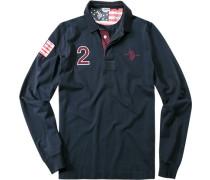 Polo-Shirt Polo Baumwoll-Jersey Applikation hinten marine