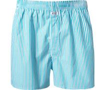 Herren Unterwäsche Boxershorts Baumwolle türkis-weiß gestreift blau