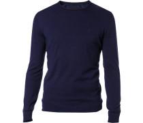 Pullover Tailored Fit Baumwoll-Mix dunkelblau