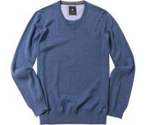 Herren Pullover Schurwolle-Baumwolle-Mix jeansblau