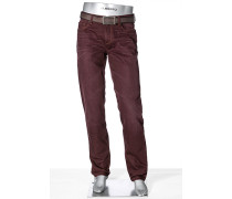 Herren Jeans Regular Slim Fit Denim weinrot
