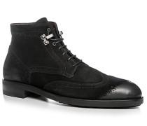 Herren Schuhe Stiefeletten Veloursleder schwarz schwarz,beige