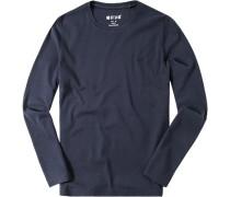 T-Shirt Longsleeve Baumwolle nachtblau