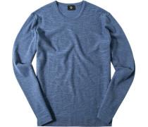 Pullover Classic Fit Schurwolle jeansblau meliert