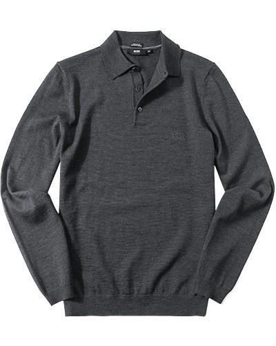 hugo boss herren herren pullover pulli regular fit merinowolle anthrazit meliert grau reduziert. Black Bedroom Furniture Sets. Home Design Ideas