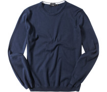 Herren Pullover Slim Fit Baumwolle marineblau
