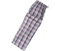 Herren Pyjama-Hose Baumwolle hellblau-rot kariert blau,blau,rot