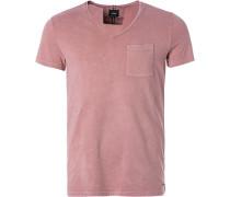 T-Shirt, Baumwolle, altrosa meliert