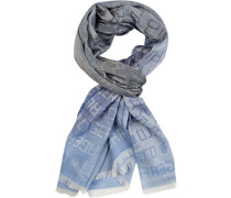 Schal, Baumwolle, hellblau-dunkelblau gemustert
