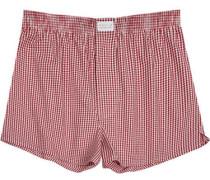 Unterwäsche Boxer-Shorts Popeline bordeaux-weiß kariert