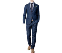 Herren Anzug Shaped Fit Baumwolle halbgefüttert jeansblau