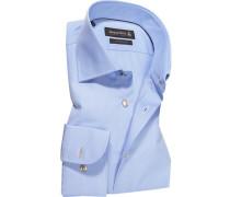 Herren Hemd Custom Fit Fineliner hellblau-weiß gestreift