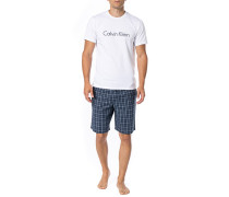 Schlafanzug Pyjama, Baumwolle, rauchblau meliert