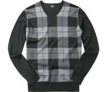 Herren Pullover Woll-Mix grau-schwarz kariert
