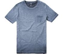 Herren T-Shirt Baumwolle rauchblau meliert
