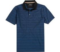 Polo-Shirt Polo Baumwolle mercerisiert dunkelblau gestreift
