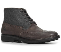 Herren Schuhe Schnürstiefeletten Leder-Filz-Mix dunkelbraun