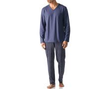 Herren Schlafanzug Pyjama Baumwolle rauchblau kariert