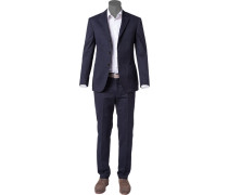 Herren Anzug Custom Fit Baumwolle navy blau