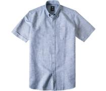 Herren Hemd Regular Fit Baumwoll-Leinen-Mix navy meliert blau