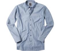 Herren Hemd Regular Fit Strukturgewebe blau meliert