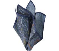 Accessoires Einstecktuch Seide-Baumwolle blau gemustert
