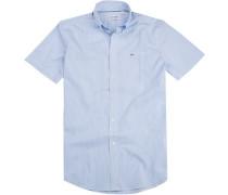 Hemd Regular Fit Baumwolle hellblau-weiß gestreift