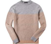Pullover Schurwolle-Kaschmir beige- gemustert