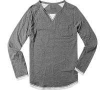 Herren Langarm-Shirt Baumwolle grau meliert