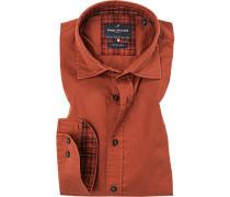 Hemd, Modern Fit, Twill, ziegelrot