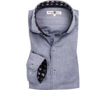 Hemd, Twill, jeansblau meliert