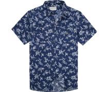 Hemd, Regular Fit, Popeline, marine-weiß gemustert