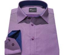 Herren Hemd Body Fit Popeline violett gemustert