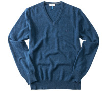 Herren V-Pullover Merinowolle blau meliert