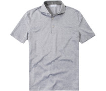 Herren Polo-Shirt Polo Strukturgewebe grau gemustert