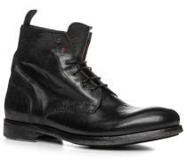 Herren Schuhe Schnürstiefel Nubukleder gebrusht nero schwarz,rot
