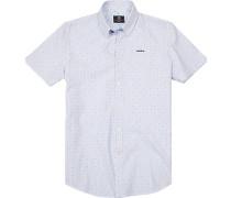 Hemd Popeline weiß-bleu gemustert