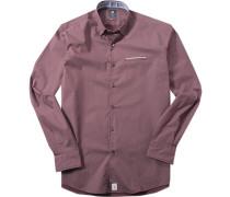 Herren Hemd Modern Fit Popeline bordeaux-weiß gemustert rot