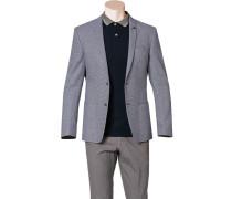 Sakko Slim Fit Baumwolle-Leinen dunkelblau-weiß gemustert