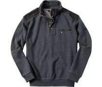 Pullover Troyer Baumwoll-Mix graublau
